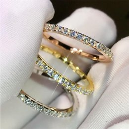 925 china cz white gold UK - Simple Fashion Sweet Cute Fashion Jewelry 925 Sterling Silver&Rose Gold Fill Pave White Sapphire CZ Diamond Women Wedding Band Ring Gift