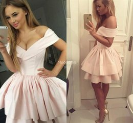 pink white short mini prom dresses NZ - Stylish Short Pink Prom Dresses 2019 Off Shoulder Tiered Party Evening Dress Mini Special Occasion Dresses Modern Cocktail Gown Sexy Vestido