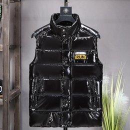 Wholesale vest men resale online - men Shiny down cotton vest men winter thick fashion clothes stand up collar cotton vests shoulder jacket coat