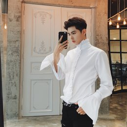 White Chemise Dress Australia - 50% Cotton Shirt Retro Ruffleshirt Men White Wedding Shirt Men Flare Sleeve Shape Royal Designer Gothic Chemise Homme