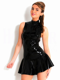 Discount tight nightclub dresses - Nightclub Black Bright Skin Tight Dress PVC Patent Leather Skirt Evening Show Bar Costume DJ Announcer Custume for Lead