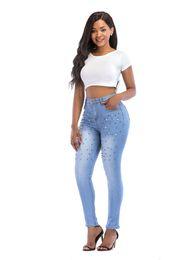 $enCountryForm.capitalKeyWord UK - Will Code Jeans Woman 2019 Nail Pearl Self-cultivation Elastic Force Joker Close Bound Feet Pants