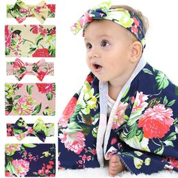 carpet bags wholesale 2020 - Newborn Baby Floral Swaddling Blankets Bunny Ears Headbands 2 Piece Suit Infant Swaddle Wrap Carpet Photo props Nursery