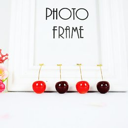 Fruits Earrings Wholesale Australia - New Fashion Red Cherry Fruit simple Earrings For Women Tassel Dangle Earrings Sweet Long Pendant Girl Gift Korea Jewelry