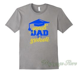 blue cotton men NZ - Summer funny print Proud Dad Of A Graduate T-Shirt Blue & Gold Colors t shirt men women tops tee 100% cotton tshirts