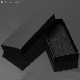 Опт Оптово-практический матовый черный коробка подарка ювелирных изделий Ключевые Пряжка Упаковка Малый Картонные коробки ювелирных изделий с пеной Sponge Pad Коробки для продажи