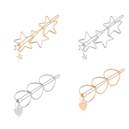 Delicate hair clips online shopping - Fashion Women Girls Hairpins Girls Hollow Star Heart Hair Clip Delicate Hair Pin Hair Decorations Jewelry Accessories