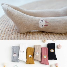 Wholesale girls foot tights resale online - Girls Cable Tights Cotton Cable Knit Footed Pantyhose Baby Toddler Girls Leggings with Lion Embroidery INS Fashion