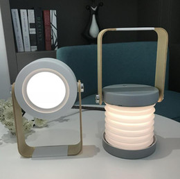 Portable Bedside Table Australia - Creative lantern light night light desktop usb mini folding office bedside lamp outdoor portable table lamp