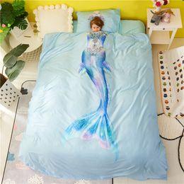 $enCountryForm.capitalKeyWord Australia - Luxury 100%Cotton Mermaid Princess 3D Bedding Set Safety standards for Kids Duvet Cover Bed Sheet Twin Queen size 3 4 6Pcs
