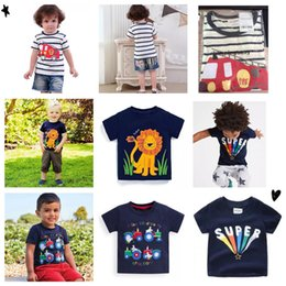 Plaid Tee Kids Australia - DHL Free Shipping 2-7T Embroidery Summer Infant Cotton Striped Children Boys Girls Tee Cartton Spider Girls Short Sleeve T-shirts For Kids