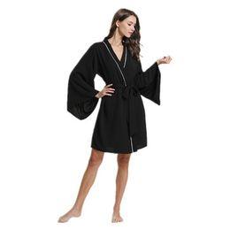 Daeyard Silk Satin Solid Kimono Robe Long Sleeve Sleepwear Women Spring  Summer Sexy Dressing Gown Long Bathrobe Nighty Homewear a63a0fbdd