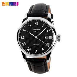 $enCountryForm.capitalKeyWord Australia - SKMEI Men Quartz Watches luxury Men's Watch Real Leather Strap Business Male Clock Wristwatches Man Relogios Masculino 9058