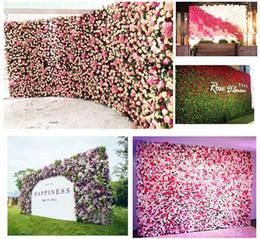 Discount silk backdrops - 40x60cm 8 colors Silk Rose Flower Wall Wedding Decoration Backdrop Artificial Flower Flower Wall Romantic Wedding Decor
