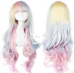 $enCountryForm.capitalKeyWord Australia - WIG free shipping X49 Lolita Harajuku Style Mixed Multi-Color Curly Long Hair Anime Cosplay Wig