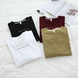 Cuello redondo Lana de algodón Tops Mujeres Camiseta básica de manga larga camiseta # 411121 en venta