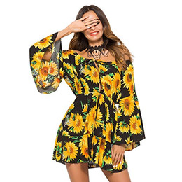ingrosso abiti lunghi da donna-Hotiary Women s Off Shoulder Floral Short Midi Summer Beach Manica lunga Boho Dress