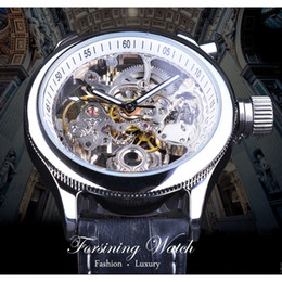 hand watch for men sports Australia - Forsining Watch Fashion Silver Skeleton Clock Gear Design Mechanical Wristwatches for Men Luminous Hands Black Genuine Leather