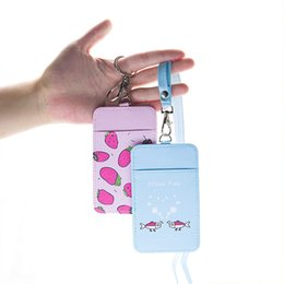 $enCountryForm.capitalKeyWord Australia - Cute Fruit Pu Bus Cards Case Students Girl Id Bank Credit Card Holder Pocket With Female Lanyard Key Ring Badge Cover Protector