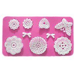flowers bakery 2020 - Silicone Mold Cake Mold Lace Mat Fondant Cake Decorating Tools Wedding Flower Butterfly Heart Bow Embossing Mould Bakery