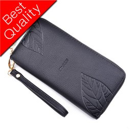 Vintage Lacing Cards Australia - Women Wallet Leather Female Purse Card Holder Coins Purse Wristlet Leaves Design Zipper Long Phone Wallet Clutch Bag Vintage