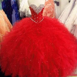 Purple Coral Beads Australia - Red Purple Crystal bead Ball Gown Quinceanera Dress Sweet 16 Dresses with Organza Ruffles Plus Size Vestidos De 15 custom made