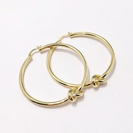 Copper CirCle hoop earrings online shopping - Round Knot Hoop Earrings Personality Circle Ear Ring Jewelry Designer Big Circle Simple Dangle Earrings for Women Party Jewelry DHL