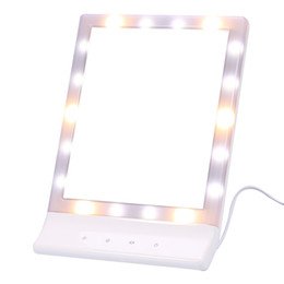 Rotating Touch Screen Australia - LED Touch Screen Makeup Mirror Professional Vanity Mirror With 18 LED Lights Health Beauty Adjustable Table Desktop 90 Rotating