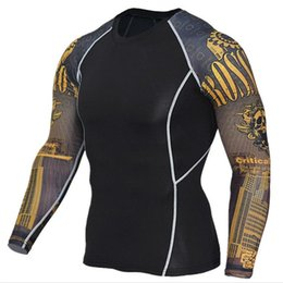 $enCountryForm.capitalKeyWord NZ - Mens Fitness 3D Prints Long Sleeves sportT Shirt Men Bodybuilding Skin Tight Thermal Compression Shirts Workout Top Gear Sport DH037