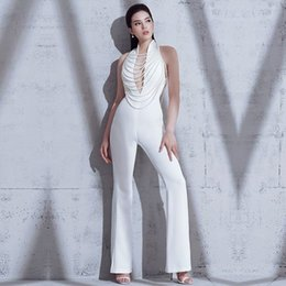 d685bcb7e57 wholesale 2019 New Summer Women Jumpsuit Elegant Beads Sexy Backless Halter  Chain White Celebrity Night Club Party Jumpsuits Rompers