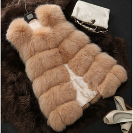 plus size faux fox vest Australia - 2019 Winter Coat Women Fox Fur Vest With a Pocket High-Grade Faux Fur Coat Leisure Plus Size 4XL Female Fox Long Vest