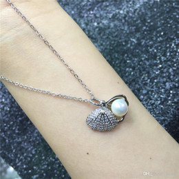$enCountryForm.capitalKeyWord Australia - 2PCS Fashion Necklaces 925 Sliver 16 inches 45cm with Shell Pearl for Women Beautiful DIY Jewelry Decorations