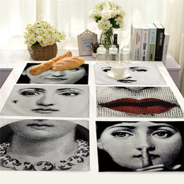 Wholesale vintage food for sale – custom Fornasetti Table Mat Cotton Linen Art Insulation Western Food Mat Vintage Fornasetti Art Master Coffee Mats Kitchen Accessories