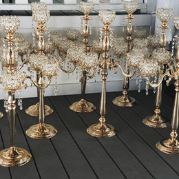 sale candles holders NZ - Hot Sale Gold Silver Alloy Candlestick Wedding Props Table Ornament Candle Holders Home Decor Candelabras With Crystal Pendants