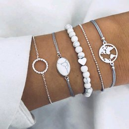 wholesale geometric charms Australia - Retro Vintage Fashion Jewelry Accessorines Geometric Oval Love Heart Map Bangles Bead Warp Charm Multilayer Bracelets For Women 5 Pieces set