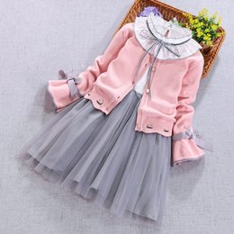 girls white transparent dress Canada - Children Clothing set spring autumn girls long-sleeved sweater cardigan Coat+dress 2Pcs suit kids winter clothes 3 5 8 10 11Year T200413