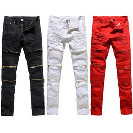 черные разрушенные узкие джинсы  оптовых-Trendy Men Fashion College Boys Skinny Runway Straight Zipper Denim Pants Destroyed Ripped Jeans Black White Red Jeans