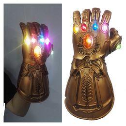 Pvc ProPs online shopping - LED Light Thanos Infinity Gauntlet Endgame Cosplay Mask Gloves PVC Action Figure Model Toys Gift Halloween Props