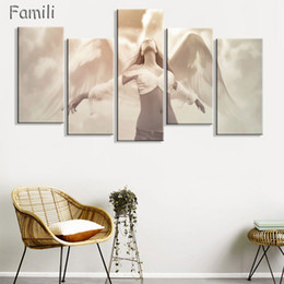 $enCountryForm.capitalKeyWord Australia - 5Panels large HD printed oil painting Angel Girl canvas print art home decor idea wall art pictures for living room