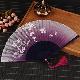 Butterfly Birthday favors online shopping - Hand Fan New Chinese Silk Flower Butterfly Folding Pocket Fan Birthday Party Favors Gift Women Dancing Hand Fans Decor