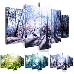 $enCountryForm.capitalKeyWord NZ - Unframed Art Wall Deco Canvas Painting Forest Landscape 5 Piece Art Cheap Picture Home Decor on Canvas Modern Wall Prints