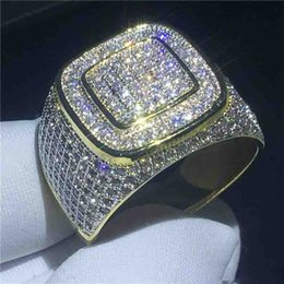 $enCountryForm.capitalKeyWord NZ - Handsome male Hip Hop ring Pave Setting 5A Yellow Gold Filled 925 silver wedding band ring for men Party Jewelry