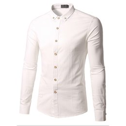 Men Cotton Business Shirts Australia - Long Sleeve Cotton Shirts Male Mens Blouse Business Casual Solid Color Turn-down Collar Man Tops Slim Fit Big Size 5XL Hot Sale