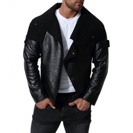 mens leather punk jackets NZ - Mens Motorbiker Black PU Leather Jackets Autumn Winter Turn Down Collar Punk Designer Jacket
