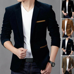 Wholesale skinny black man shorts for sale – denim 2019 New Men s Casual Slim Fit Formal One Button Suit Blazer Coat Jacket Tops Factory