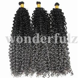 "Bundle Pack Extensions Australia - 14"" Brazilian Synthetic Ombre Braiding Hair Extensions Water Wave Crochet Braids Hair Bundles Afro Kinky Twist Crochet 30Roots Pack"