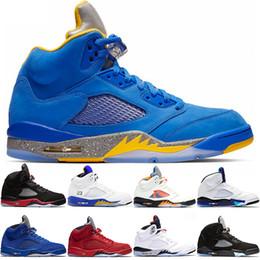 15a32a86500a3a Nike Air Jordan 5 Retro Мужчины Баскетбольные кроссовки 5 Bred  International Flight Синий Красный Замша Белый Цемент OG Металлик Черный  Дизайнер Спортивные ...