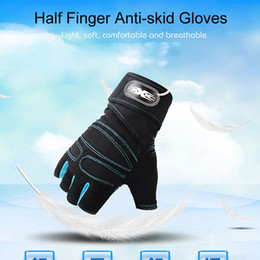 fingerless golf gloves Australia - Men Women Half Finger Fitness Gloves Weight Lifting Gloves Protect Wrist Gym Cycling Training Body Building Fingerless Sport Gloves