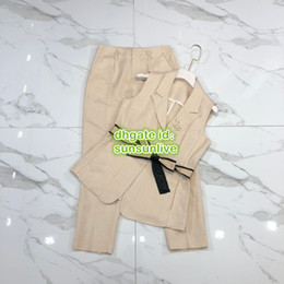 Zipper Brooches Australia - Women Brand Suits Blazer High-End Custom Vest Sleeveless Jacket With Brooch Blazer+Zipper Pant Trousers Suit Set