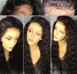Glueless Lace Front Wigs 14 Australia - Glueless Lace Front Human Hair Wigs For Black Women Natural Hairline Peruvian Water Wave Full Lace Wigs 150% Density